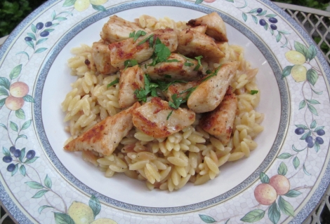 Garlic Chicken with Browned Butter and White Wine Orzo